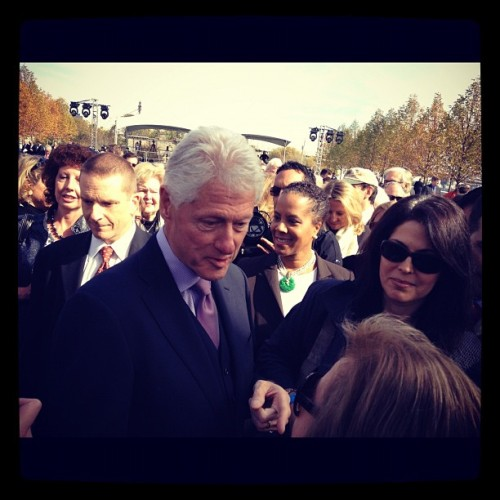 Bill Clinton after ribbon cutting ceremony at FDR Four Freedoms Park in #NYC. #politics #2012 #BillClinton #parks #FDR #FourFreedoms #LouisKahn #MyArchitect
