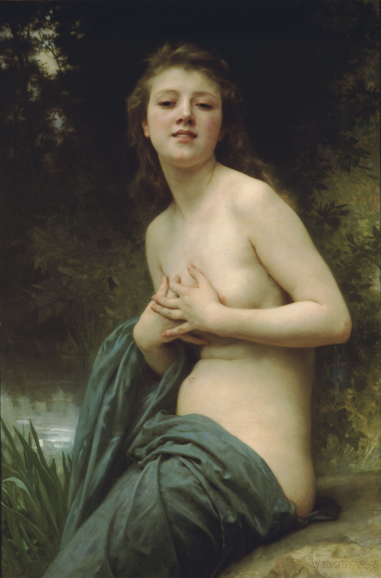 Spring Breeze (1895). Adolphe William Bouguereau (French, Realism, Academic, 1825-1905). Oil on canvas. Along with Cabanel, Bouguereau was the most influential upholder of the conservative values of French academic art in his day. His paintings stress those values: precise drawing, contour, and finish, along with strict adherence to the rules of anatomy, perspective, academic modeling, and physiognomic expression in which internal character is revealed by outward appearance.