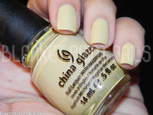 Color: Kalahari Kiss (China Glaze)Retail Price: $7.00 (USD) This shade is from China Glaze's fall 2012 On Safari collection. China Glaze describes it as a brown, but I definitely think it's more like a yellowy beige, if anything! On some skin tones, I think this shade would even function great as a work-safe nude. The formula for this shade makes application smooth and easy (just like most of China Glaze's cremes), and I needed two coats to achieve bottle color. Disclosure: Product sample provided by China Glaze.