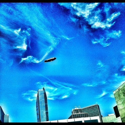 #TheWorldIsMine #DTLA #LOAD #Blimp #Sky #Sun #Clouds
