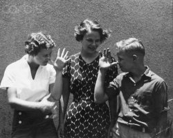 Marlon, ca. 13 year-old, with his 2 big sisters, Frances and Jocelyn; 1937s.