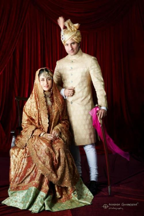 opulentfashion:  Official Kareena and Saif Wedding Photo…very, um, traditional…  Saifeena