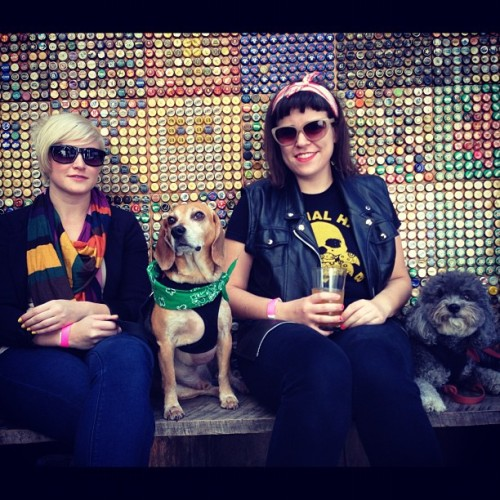 @bellsaloud & @shadood & their pooches at @barcadebrooklyn