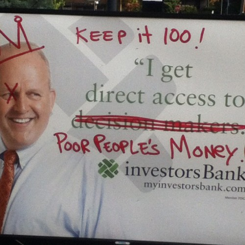 Let's keep it 100. The banks don't care. They just want access to your money. #nobodycares #ows #tmnk