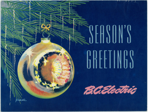 Christmas in the 1950s / 1960s designed by artist / art director Jack Grundle, an original BC Electric transit advertisement, private collection.