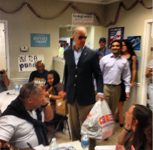 Biden bursts into FL Field Office with massive amounts of Dunkin Donuts+box of of coffee all while wearing aviators  I love him.