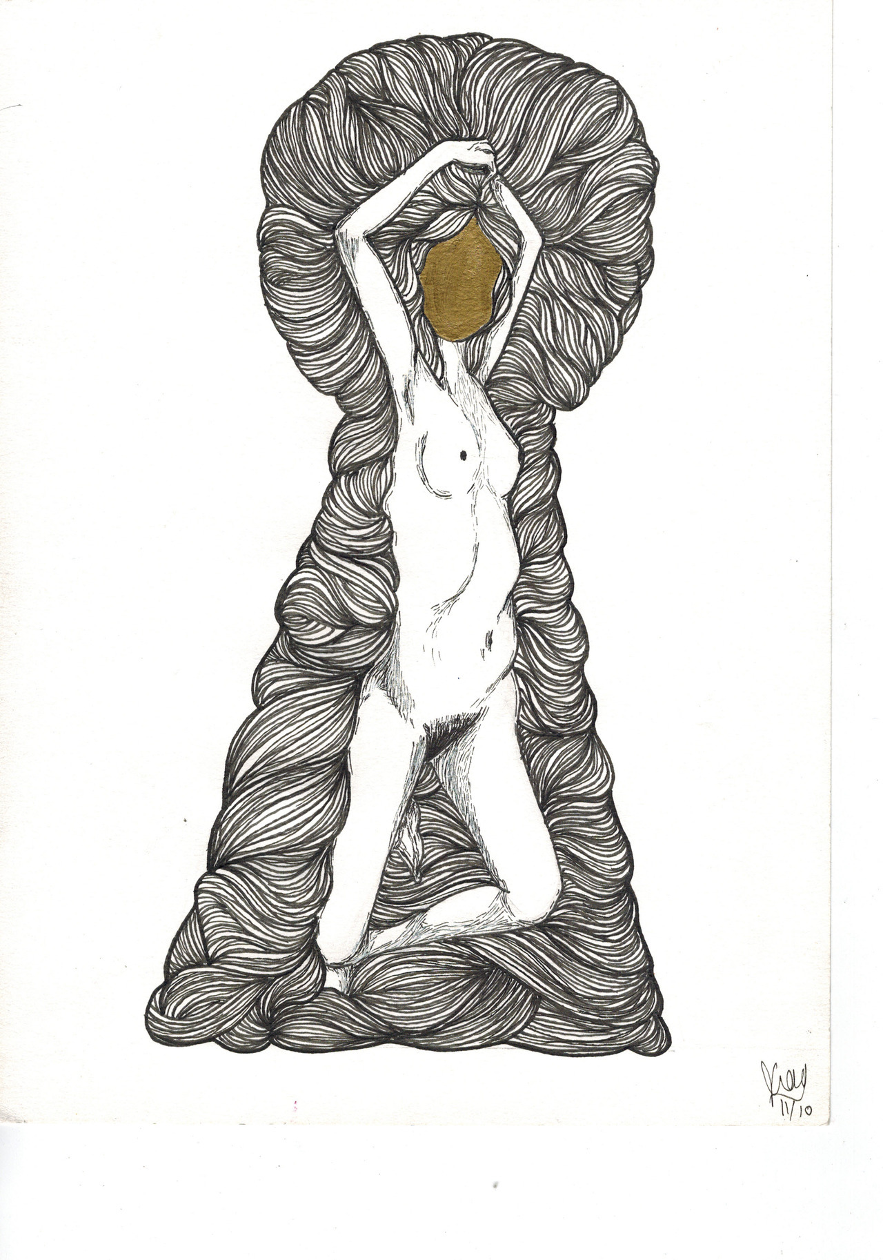 """Outside me"", ink on paper, 2011."