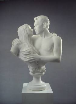 "From the Tate website:  'Bourgeois Bust' was originally created for the 'Made in Heaven' exhibition, in which Jeff Koons explored the concept of love in relation to his own marriage to porn star Ilona Staller. Represented as a marble portrait bust, the couple are depicted within a traditional Baroque style that drew its inspiration from antique classical sculpture. With her plaited hair and string of pearls, Staller appears like Venus, the Greek goddess of love. Declaring sensationally ""We've become God"", their spiritual and physical union seemingly elevates the pair to a higher realm of idealised existence and ecstasy.  ~ Jeff Koons Bourgeois Bust - Jeff and Ilona, 1991"