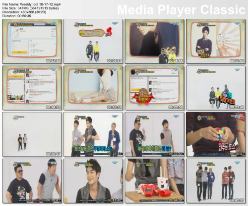 aznbombr1022:  Weekly Idol 10-17-12 http://www.mediafire.com/?srqbqr0wycvm3xu Part 1 - Mediafire http://www.mediafire.com/?chdjjmq0gk0vme9 Part 2 Put Together With HJSplit IPod Touch & IPhone Ready Use Quicktime Player or Itunes to watch on the PC