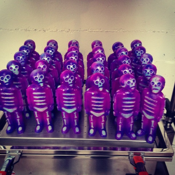 Egan X Kozik purple plague bones toys for Designer Con!! Frank Kozik hand painted a custom run of my bones toys for DCon this year. Limited to 25 these guys will go quick!