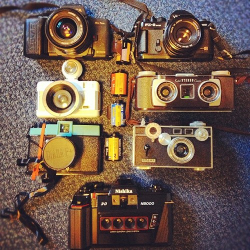 My camera arsenal! #film #35mm #120mm #cameras #kodak #fujifilm #yashica #argus #vintage #lomography #lomo # 3D #stereo #professional  (at The UC (UC))