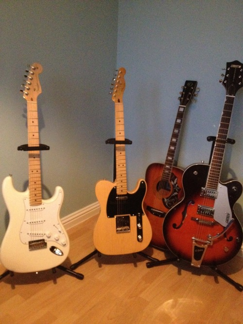 "guitar-porn:  Fender Stratocaster, Squier Telecaster, K Acoustic and Gretsch 5120. How much would you love to look across at the corner of your room and see these four smiling back at you? Paul V is the lucky guy who can do this for real; ""My collection: Fender American Strat, Squier 50's vibe Tele , 30 year old K acoustic and my Gretsch 5120""  that 5120"