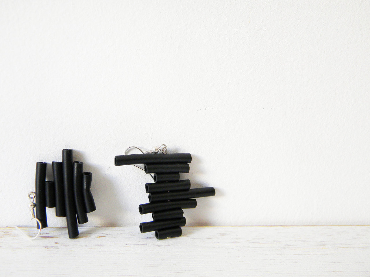 Black rubber earrings