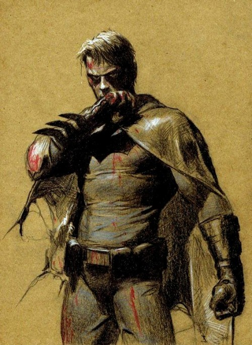 deantrippe:  jthenr-comics-vault:  Batman/Bruce Wayne by Gerald Parel  damn, that's good batman.   Oh. Damn.