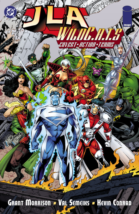 "So I Read Today: JLA/Wild C.A.T.S (1998) Way back before DC bought Wildstorm Comics, you could see the roots for that particular business relation in what it was their first creative collaboration. A single one-shot featuring both publishers premiere teams. The JLA along the Wild C.A.T.S was not promoted as a meeting for the ages, but a huge effort was put into getting both teams together with the best talent of the day handling their team-up. Grant Morrison wrote the story, Val Semeiks provided visuals along Kevin Conrad and TUCC colors. Very few words could describe this great comic but I think the word tat suits it just fine is ""weird"". JLA/Wild C.A.T.S is a weird comic, but not in the bad sense of the word, it combines storytelling elements related to time-travel and as you all know those kind of stories can be a huge headache to follow, add to it the trademark cryptic narration of Morrison and you have one incredible tale. Both teams have to face DC villain Epoch, the lord of time who through various schemes fuses his whole being with time travel technology and does his best to kill off the league. Content with stranding them on time he escapes to the far future. The team makes his way back to present to find their reality merged with the Wildstorm universe. The traditional team-on-team fight ensues with he higher points going to Superman against  Majestic, Wonder Woman vs Zealot and Batman vs Grifter. Once both teams have patched up their differences it's time to go into business and deal with the threat of Epoch once for all, the villain has merged realities and mixed technologies from all times and ages in preparation for his ultimate opponents  but what he finds is his ability to be surprised as History is proven to be uncertain even for a being who fancies himself a God. This book is such a great read, time has been kind to him even though it already has 14 years of being published. I've already had my say on Morrison's great writing  but the awesome art of Val Semeiks is what truly delivers on this one, this man has some mad storytelling skills. This book can still be found for a song, go check it out, you will not regret it!"