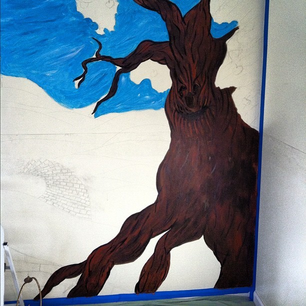 Progress. Wizard of Oz mural #wizardofoz #mural #paint #painting #wall #tree