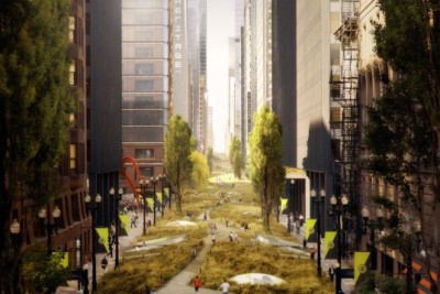 Envisioning Chicago as a city without cars, South Dearborn St, Chicago. for more images visit: http://inhabitat.com/rollerhaus-re-imagines-chicago-as-a-futuristic-eco-metropolis/