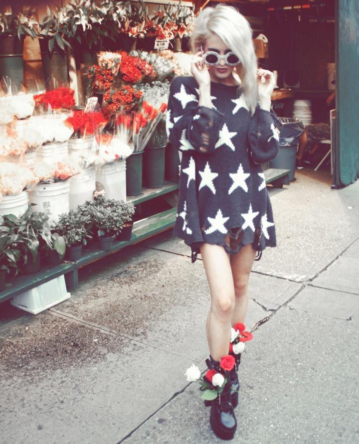 what-do-i-wear:  white circle shades by wildfox seeing stars lenon sweater by wildfox boots from dolls kill(image: ihateblonde)
