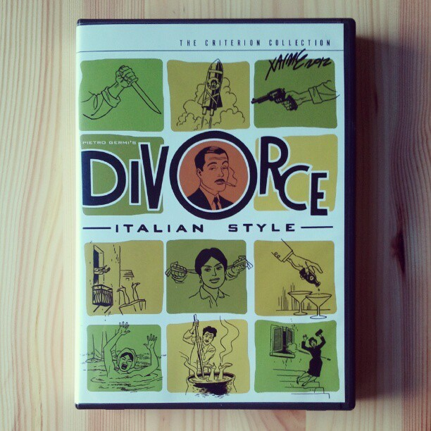 jaime hernandez's awesome ilustrations for CRITERION's DIVORCE ITALIAN STYLE. i love it so much I got him to sign it at APE 2012. photo by chris anthony diaz