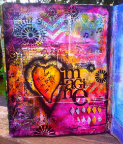 artjournaling:  Paints and stencils (by Marjie Kemper)