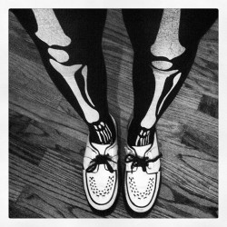 #creepers #shoes #fashion #tights #bones #skeleton #me blackandwhite