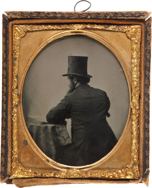 ca. 1860's, [ambrotype portrait of a bearded gentleman faced away from the camera] via Heritage Auctions