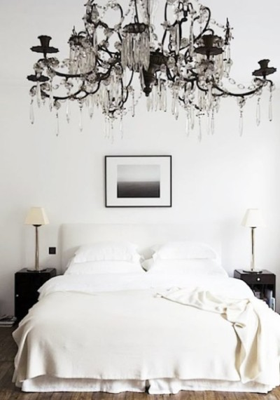 thedecorista:  simple and sweet. #black #chandelier #love