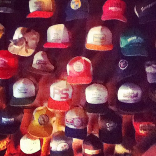 New bar — Giusti's Place — and a new ceiling theme: hats. Hundreds of hats.