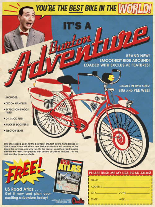 laughingsquid:  Pee-wee Herman's Bicycle Imagined as a Brochure Ad by Tim Anderson