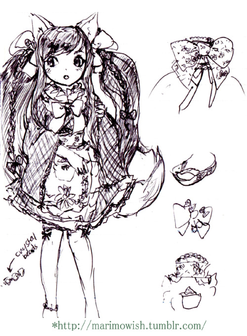 "Freehand with pen (> w <"""""" I designed an outfit (= w ="""""