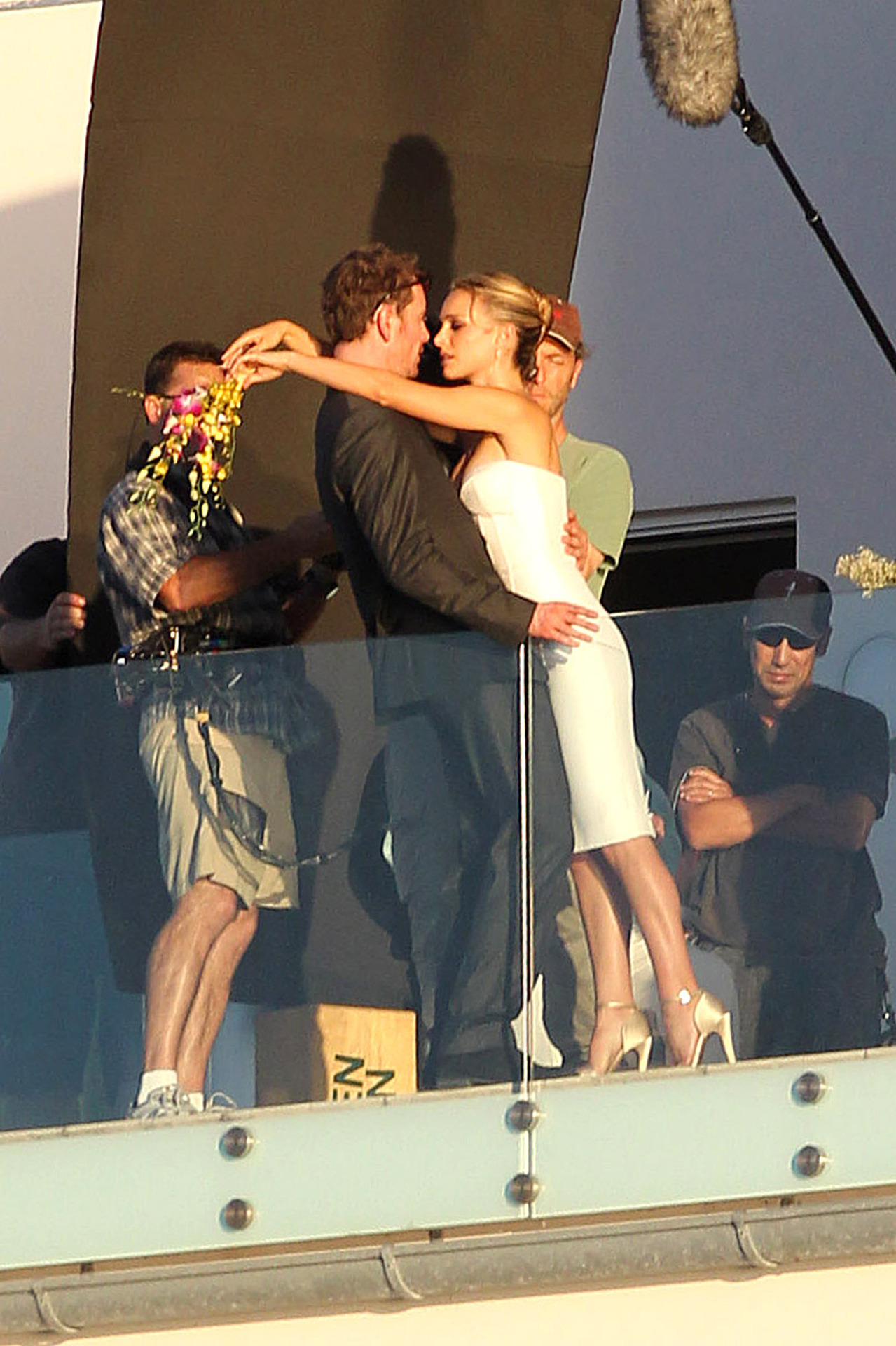 Michael Fassbender and Natalie Portman filming the untitiled Terrence Malick fi;m in Austin, October 19th