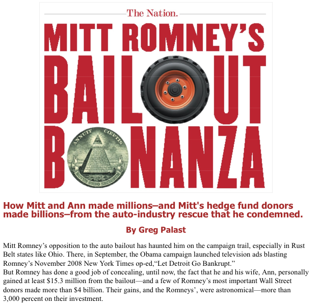 aheram:  Mitt Romney made $15.3 million from the auto bailout, a bailout he supposedly opposed. And how much did his corporate donors made? $4 billion.