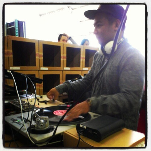 Thanks to @jonphenom for the shot of me spinnin' at the Orisue warehouse sale earlier today. Shout out to all who came out and took advantage of the ridiculous deals. @orisue #Orisue