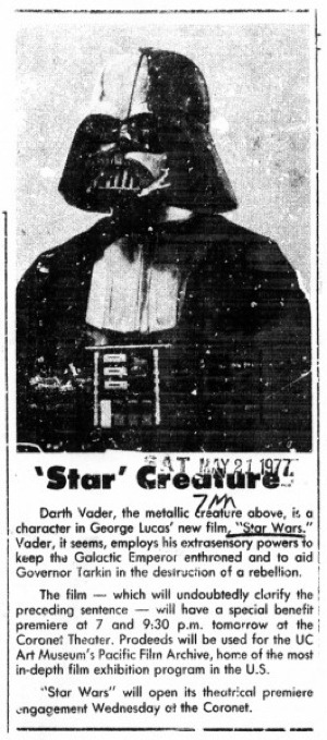 "iheartchaos:  Darth Vader, before he was famous A short newspaper clip published in 1977, right before the official release of Star Wars, describing Darth Vader as a ""Star Creature."" Via  He will extrasensory-choke the life out of you."
