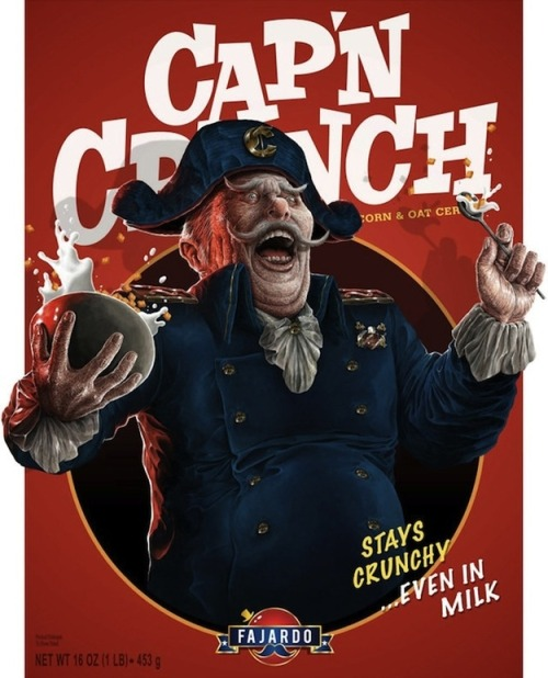 chuckhistory:  I love this… I imagine this Captain Crunch tying you to a chair with salty leather straps and just shoving the cereal down your throat.   Just scraping the shit out of the roof of your mouth. Laughing maniacally as you choke on the blood from your shredded gums.