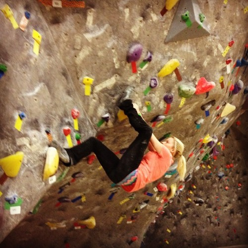 kjmowery:  Climb hard. Climb on. #climbhard #rockclimb #bouldering #pain #heelhook #competition