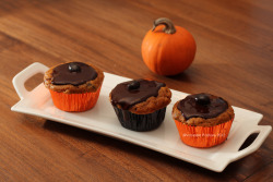 Pumpkin Spice Latte Cupcakes, topped with a chocolate ganache and a chocolate covered espresso bean. Vegan, as always. Hungryface Bakery