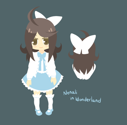 Nenali in Wonderland ref sheet.Nenali is Alice aahh.Gotta keep knocking off drawings on my to-do list while I still have inspiration…!