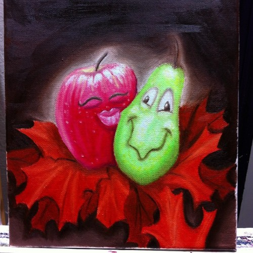 """#apple kissing #pear in #leaves "" #art #painting #oils  #cartoon #funny #kisses"