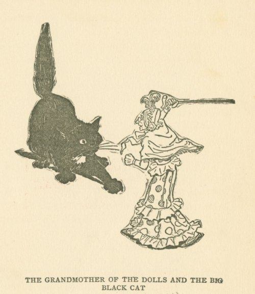 """The Grandmother of the Dolls and the big Black Cat""  illustration by Oliver Herford  from Little Mr. Thimblefinger and his queer country; what the children saw and heard there by Joel Chandler Harris  1894"
