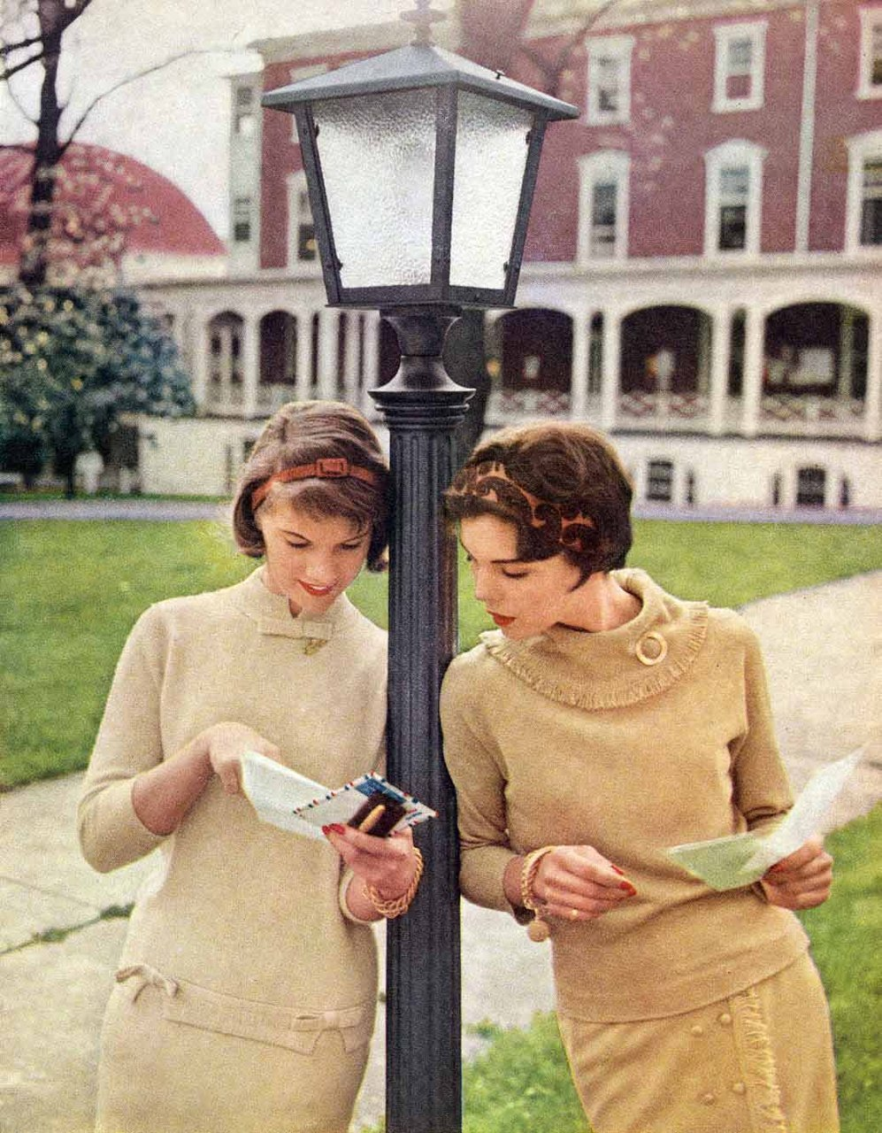 "College coeds reading mail while showing latest fashion. Mademoiselle 1958. ""Why in the world would you want to send your daughter to college. Isn't she going to get married? It would be different if she could be a doctor or a lawyer."" — quotes from the 1950s."