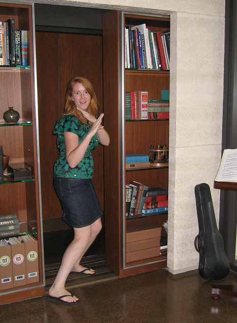 stashvault:  Secret elevator door made from a sliding bookcase