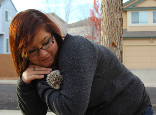 Obviously this is the proper way to hold a hedgehog. Excuse me as I go edit the other photos. I just wanted to post this for giggles.