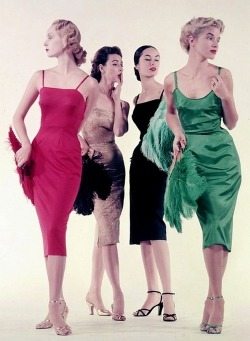 theniftyfifties:  1950s evening fashions.