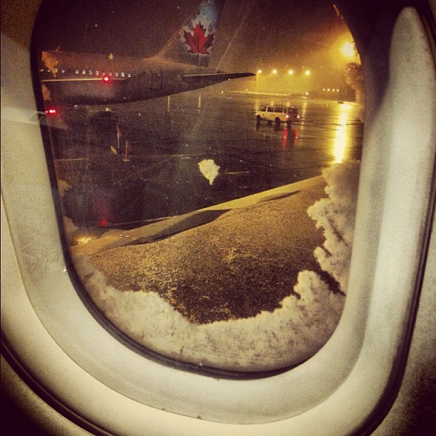 Welcome to #Calgary. Ps, it's f***ing snowing. #YYC #Aeroplane #Snow #Canada