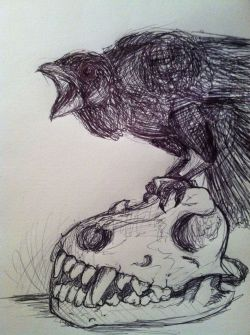 ithevulture:  Pen & ink crow.  I love to draw to music. This happens :) The bands I was listening to are in the tags.  Wicked!