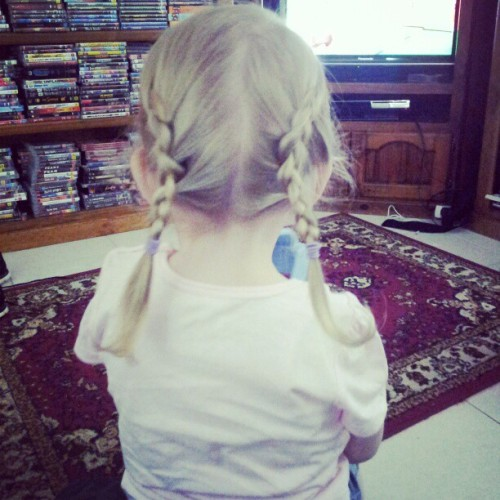 Alexis let me braid her hair, so long as she was watching the wot wots.