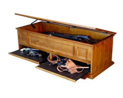 Coffee table with secret compartment for long guns, available at Walmart