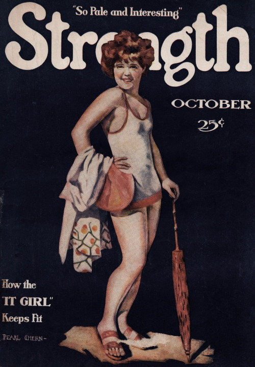 "clarabowarchive:  ""So Pale and Interesting"" ☆ Clara Bow ☆ How the ""IT GIRL"" Keeps Fit ☆ Strength Magazine, October 1929 ☆ Artwork by Pearl Chern ☆"