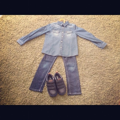 Very excited about our double denim look today. 😄 Dressing a boy can be so much fun! #doubledenim #children #kids #boys #outfits